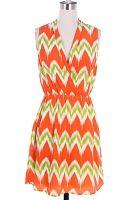 Orange Sleeveless Print Dress