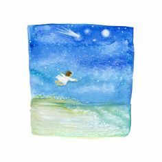 One Evening She Remembered How to Fly by DeborahMoresArt on Etsy
