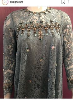 Embroidery Clothes Couture Sequins 48 Ideas For 2019 Kebaya Lace, Kebaya Hijab, Kebaya Dress, Dress Pesta, Embroidery On Clothes, Embroidery Fashion, Beaded Embroidery, Embroidery Patterns, Abaya Fashion