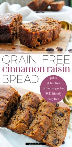 Paleo Cinnamon Raisin Bread This paleo cinnamon raisin bread is the perfect twist on a classic favorite! It's grain free, gluten free, dairy free, refined sugar free AND Specific Carbohydrate Diet friendly. Made from wholesome, real ingredients it's pe Gluten Free Baking, Healthy Baking, Healthy Food, Gluten Free Sugar Free Bread Recipe, Gluten Free Grains, Healthy Sweet Treats, Raw Food, Gluten Free Dairy Free Bread Recipe, Best Paleo Bread Recipe