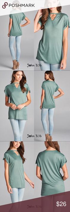 💝 Sweet sage tops Casual sage colored tops with short sleeves and cutout neckline - 71% rayon 29% polyester - price is firm - fits true to size✔️ Boutique Tops