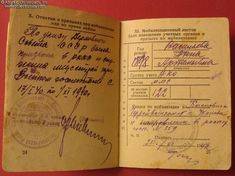Collect Russia Military Photo ID Card, issued on 9 December 1940 to Anna Vasilyeva, a medical nurse. Soviet Russian 9 December, Military Photos, Red Army, Booklet, Russia, Anna, Medical, Cards, Medicine