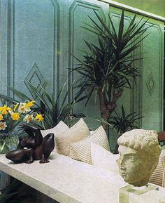 One way to solve the problem of living in a flat with a diseagreeable outlook is to forget the windows altogether and do as decorator Gilles St Gilles has done in this sitting room in Paris. Feng Shui, 1980s, Forget, Home And Garden, Windows, Paris, Flat, Retro, Room