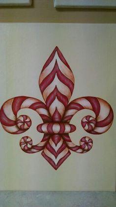 Flur de Lis candy cane Christmas Signs, Christmas Art, Christmas Decorations, Leis, Louisiana Art, Queen Art, La Art, Gold Work, Primitive Crafts