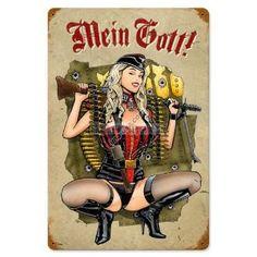 German Vintage Metal Sign Gunner Girl