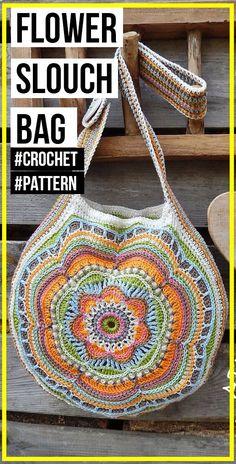 crochet Boho Flower Slouch Bag pattern - easy crochet bag pattern for beginners . - crochet Boho Flower Slouch Bag pattern – easy crochet bag pattern for beginners – Bag – Easy - Bag Crochet, Crochet Market Bag, Crochet Handbags, Crochet Purses, Crochet Crafts, Crochet Stitches, Crochet Projects, Crotchet, Knit Bag