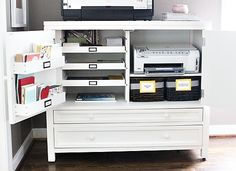 New Home Office Organization Printer Storage Ideas … – Modern Office Organization At Work, Home Office Storage, Home Office Space, Home Office Design, Home Office Decor, Home Decor, Organized Office, Small Office, Home Office Furniture