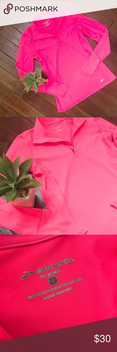 BROOKS JOGGING SHIRT Brooks jogging shirt with equilibrium technology and zippers in bright pink! Great condition! Brooks Tops