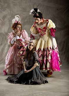 """Cinderella and her """"step sisters"""" Christopher Ruud, Arolyn Williams and Easton Smith; 2013, Ballet West. Photo Erik Ostling"""