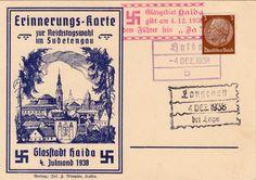 """Propaganda Postkarte Drittes Reich """"Anschluss Sudetenland"""" - Erinnerungskarte der Glasstadt Haida """"Glasstadt Haida Erinnerungskarte 4.10.19..."""