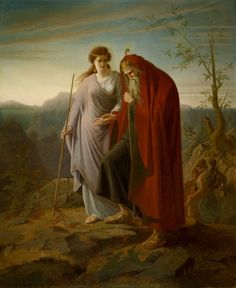 Oedipus and Antigone, n.d. Franz Dietrich (German, 1838-1890). Crocker Art Museum. Dietrich depicts the tragic aftermath of the story of Oedipus from Sophocles' play. The king of Thebes, Oedipus was abandoned as a child because of a prophecy that he would kill his father and marry his mother, both of which subsequently happened. The tragic revelation drives him insane, and he blinds himself and wanders the world with his daughter Antigone.