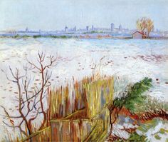 Vincent van Gogh - Snowy Landscape with Arles in the Background, 1888