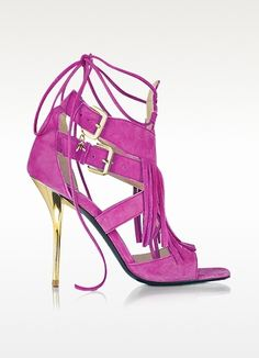 Patrizia Pepe Peony Pink Suede and Leather Fringe High Heel Sandal