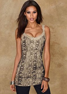 Cream & Olive (CROL) Reptile Print Tank A little lace and a get-noticed print makes this so much more than just another tank! · 	 Viscose/cotton   · 	 Imported  · 	Style #J3664