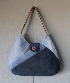 Tie-Dyed Themed Geometric Patch Denim Handbag with a Vintage Button, Back Zipper Pocket and Two Interior Pockets by AllintheJeans on Etsy