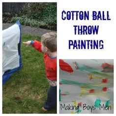 Super cute #craft for active #boys! Cotton ball throwing painting.