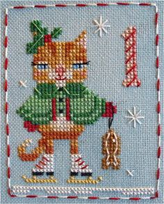 Katie Kitty - #1 of 25 little animal charts in the Brooke's Books Advent Animals Freebies Collection by Brooke Nolan. http://prosites-brookeanolan.homestead.com/CrossStitchFreebies2.html  Join our SAL on Pinterest here: http://www.pinterest.com/spunthread/brookes-books-animal-advent-stitch-a-long/