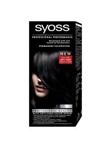 syoss color professional permanent coloration 1 1 black hair color - Syoss Coloration