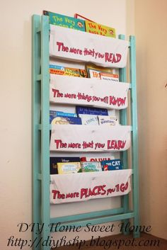 DIY - recycle your crib into this fabulous book shelf with inspirational words to keep your little ones reading :)
