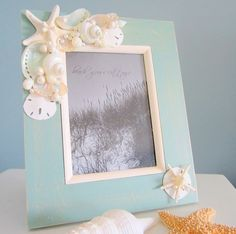 Seashell Frame, Sea & Beach Craft - Sold on Etsy but I can make it myself Seashell Picture Frames, Seashell Frame, Seashell Art, Seashell Crafts, Starfish, Seaside Decor, Beach House Decor, Coastal Decor, Ocean Crafts
