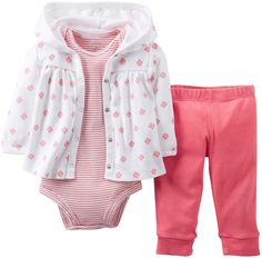 Carter's 3 Piece Cardigan Set (Baby) - Pink Carter's is the leading brand of children's clothing, gifts and accessories in America, selling more than 10 pr Carter's Baby Girls' 3 Piece Cardigan Set (Baby) - Pink Baby Outfits, Outfits Niños, Kids Outfits, Carters Baby Girl, New Baby Girls, My Baby Girl, Baby Set, Baby Baby, Baby Girl Fashion