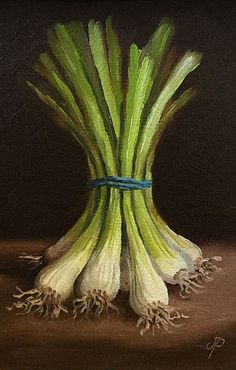 """Spring Onions"" - Jane Palmer, oil on canvas {contemporary art food still life scallions vegetable painting}"