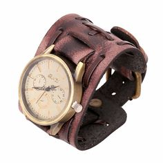 165b5ed7237 New Style Retro Punk Rock Watch Men Fashion Big Wide Leather Bracelet Cuff  Mens Quartz Wrist Watch Cool Relogio Masculino Gift