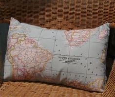 World map pillow cover - world map cushion cover - as seen in Marie Claire - decorative pillows - blue pillow cover - decorative map pillo on Etsy, $16.00