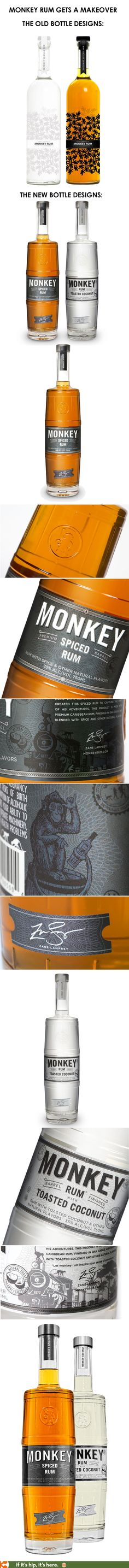 """Zane Lamprey's Monkey Rum bottles get a makeover by Identitica. Now, they've been designed to simulate the old """"Barrel of Monkeys"""" Game (it's barrel finished rum). I actually liked the original bottles better."""