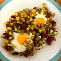 Chorizo hash and baked eggs