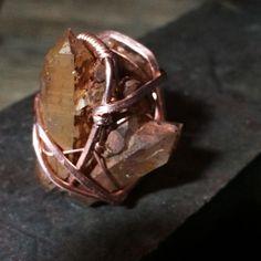 Raw Arkansas Quartz Ring by rework creative