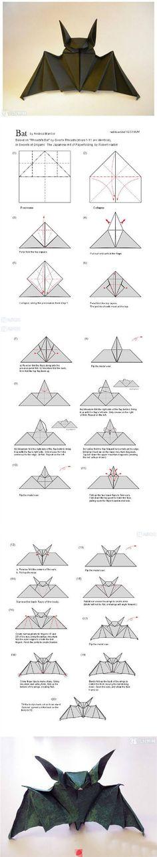 Origami Yarasa Yapımı Resimli Anlatım