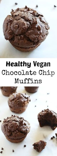 These Healthy Vegan Chocolate Chip Muffins are sweetened with maple syrup and chocolate chips, super easy to make and great for breakfast, dessert or just snacking! Vegan. / TwoRaspberries.com