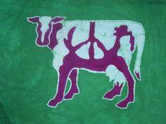 Batik Peace Cow Men's L by innerwolfbatik on Etsy