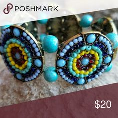 Turquoise Beaded Bracelet Turquoise, Blue, & Yellow Seed Beeded Metal Cuff for that Native feel. Beautiful peice. Accessories