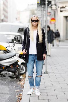 99e174fe46c6f Stan Smith Adidas + Ripped Jeans Mode, Style De La Rue Automne, Street Style