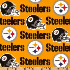 NFL Cotton Broadcloth Pittsburgh Steelers Yellow/Black from @fabricdotcom  Cheer on the Pittsburgh Steelers, your favorite NFL team, with this NFL cotton broadcloth fabric. Perfect for use in quilting projects, craft projects and even apparel. Colors include black, yellow, white, red, and blue.