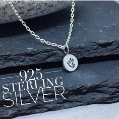 Silver bird necklace, 925 sterling silver. Dainty minimalist dove - peace charm. by KatieBourchier on Etsy