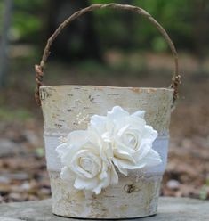 Birch Flower Girl Basket Rustic Burlap Lace and by MichelesCottage, $37.00