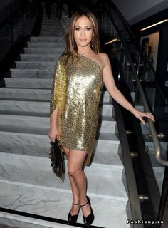 Who made Jennifer Lopez's gold one shoulder long sleeve sequin dress, clutch, and black platform pumps that she wore to the RADD Grey Goose party at L.'s Soho House? Black Platform, Platform Pumps, Gold Dress, Sequin Dress, J Lo Fashion, Jennifer Lopez Photos, Glamour, Most Beautiful Women, Style Icons