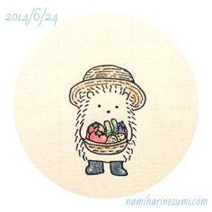 夏野菜。#ハリネズミ 188    summer vegetables  #hedgehog #illustration #drawing #イラスト #ペン画 #illustagram