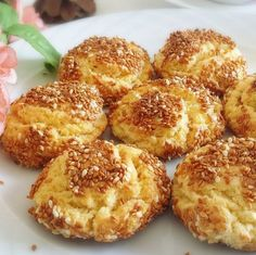 New : Sesame Cookies Recipe, Tea Time Snacks, Pastry Recipes, Cookie Recipes, Recipe For Sesame Cookies, Squash Fritters, Homemade Rolls, Best Cake Recipes, Turkish Recipes, Food Design