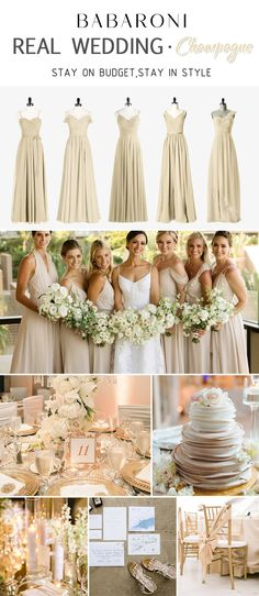 The elaborate champagne Bridesmaid Dresses look elegant and the romantic champagne Bridesmaid Dresses make girls look livelier and can catch others eyes on occasions such as weddings and parties. Champagne Wedding Colors Scheme, Elegant Wedding Colors, Champagne Color Dress, Wedding Color Schemes, Romantic Bridesmaid Dresses, Bridesmaid Dress Colors, Wedding Bridesmaids, Theme Color, Wedding Styles