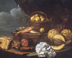 """Ferrarese School (17th century), """"Salami and Pastries on a Plate, Bread, Figs, a Basket of Apples, a Cloth and a Knife on a Ledge,"""" ca. 1670. Oil on canvas, 35 3/4 x 43 1/2 in. Photographed in April 1993 at a sale in London. The Frick Collection / Frick Art Reference Library Photoarchive. #fricklibrary #foodies #still_life"""