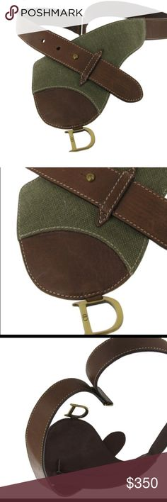 Christian Dior belt bag. Olive green and brown Christian Dior belt with small pouch and hidden zipper inside. Big enough for license and maybe a few tylenols. Olive green Canvas and leather. Christian Dior Accessories Belts