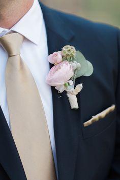 blush boutonniere, ranunculus boutonniere, Joseph Mark Photo