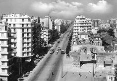 Εgnatia str during the Arcadia Greece, Thessaloniki, Macedonia, Old Photos, New York Skyline, Places To Visit, Greek, Black And White, City