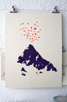 Volcano - linocut - VOLCAN linocut by evelynemary on Etsy - Illustration Design Graphique, Art Et Illustration, Art Graphique, Silk Screen Printing, Art Design, Graphic Art, Art Prints, Art Drawings, Poster