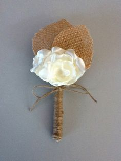$10. Rustic Boutonniere -IVORY SATIN  Boutonniere -Shabby Chic Wedding -Rustic Wedding -Burlap and IVORY SATIN ROSE