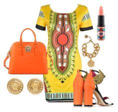 """Bold tribal"" by facedbygrace on Polyvore featuring Versace, Oscar Tiye and MAC Cosmetics"